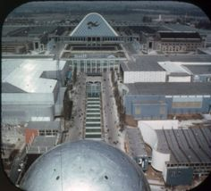 Expo '58, Brussels World's Fair: View from Atomium, waterfalls and Belgium Avenue, from a View-Master souvenir reel.