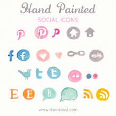 hand painted social icons