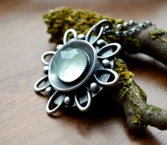 Lovely sunflower Necklace with Aqua Chalcedony by EONDesign