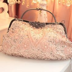 vintage rose gold bridal handbag