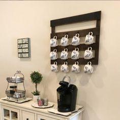 Coffee Mug Wall Rack, Coffee Mug Display, Coffee Mug Holder, Mug Rack, Coffee Cups, Coffe Bar, Wall Shelf Unit, Wooden Wall Shelves, Wooden Walls