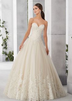 Wedding Dresses Simple, Classic Tulle & Satin Sweetheart Neckline A-Line Wedding Dresses With Lace Appliques Midi Bridal Uk Outdoor Wedding Dress, Simple Wedding Gowns, 2016 Wedding Dresses, Classic Wedding Dress, Colored Wedding Dresses, Bridal Dresses, Bridesmaid Dresses, Wedding Ideas, Illusion Neckline Wedding Dress