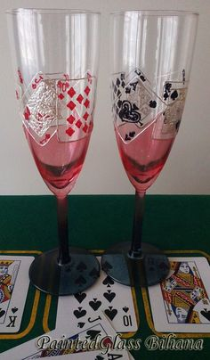 Casino Wedding Glasses Champagne Flutes Set by PaintedGlassBiliana