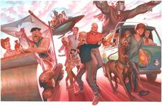 Hanna Barbera Characters (The Flintstones, Scooby Doo, The Jetsons, and Johnny Quest) by Alex Ross