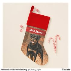Personalized Rottweiler Dog Christmas Stocking Christmas Animals, Christmas Dog, Christmas Card Holders, Christmas Cards, Pet Christmas Stockings, Santa Claus Is Coming To Town, Rottweiler Dog, Great Gifts, Pets