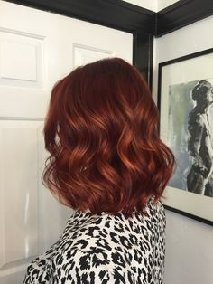 Rich, deep red with copper balayage. Gigi at Mecca Salon in Sacramento, CA.