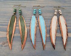 Long thin earrings Leather feather earrings Thin feather earrings Metallic bronze leather earrings Boho earrings Bohemian dangle earrings