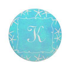 Starfish Aqua Monogram Drink Coaster