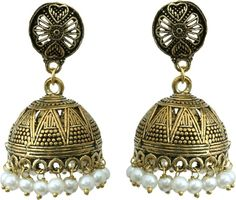 Waama Jewels White Gold Plated for Womens Push Cluser festival jewellery Wedding Pearl Brass Jhumki Earring Price in India - Buy Waama Jewels White Gold Plated for Womens Push Cluser festival jewellery Wedding Pearl Brass Jhumki Earring Online at Best Prices in India | Flipkart.com