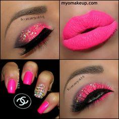 Image via We Heart It https://weheartit.com/entry/68335375/via/13802995 #black #glitter #lashes #makeup #nails #pink #nagels