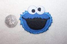 cookie monster iron on patch,applique,embelishment novelty  blue transfer