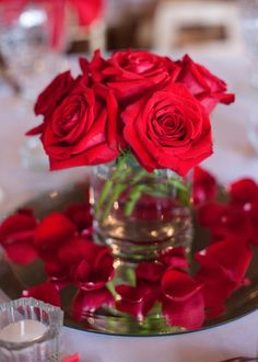 simple red rose wedding centerpiece