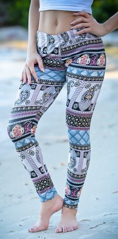 Forget one-note leggings! BORING! With elaborate ornamental designs tightly hugging every curve, these boho chic leggings underscore a bodacious bod. And with a pretty top and dangly earrings, they can be the backbone to an elegant evening ensemble.
