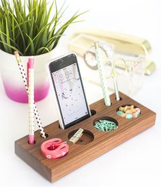 Organize your space with a wooden desk caddy.