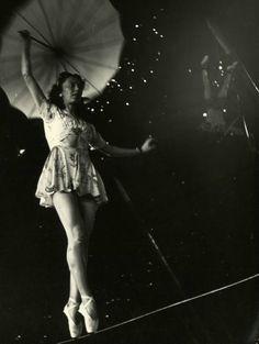 1949 circus tightrope walker. Photograph by Nina Leen