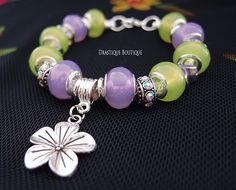 Lime green & purple charms bracelet Flower by DrastiqueBoutique, €14.90