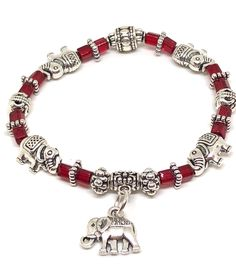 WOW! These handmade elephant stretch bracelets are GORGEOUS!! Select from 8 colors of a mix of crystal and silver beads to create the perfect elephant gift! Live empowered when you wear this bracelet as Elephants are symbols of strength and wisdom. Personalize yours today at the BraceletBarre.com :-)