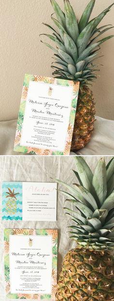 Tropical Wedding Invitation, Pineapple Wedding Invitations, Elegant Wedding Invitation, Classic Wedding Invitation, Formal Wedding Invitation, Traditional Wedding Invitation, Custom Wedding Invitation See more here: http://www.hadleycustomdesigns.com/