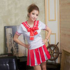 5 Color Cheerleader Costume Japanese School Uniform Sailor Top + Mini Skirt School Girl Outfit Fancy Dress Plus Size