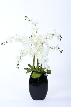 Artificial White Orchid set in a Black Vase. A modern silk flower orchid arrangement. 3ft high.: Amazon.co.uk: Kitchen & Home