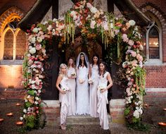 The entrance to the chapel with my Bridesmaids - their dresses were the Daphne from Ghost.