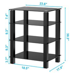 TV Media Stand Multimedia StorageTower Glass Shelves Storage for AV Components Console Speakers Black Tempered Glass LCD TV Table for Apple Tv/xbox Tv Media Stands, Tv Stands, Glass End Tables, Glass Dining Table, Willow Figurines, Sauder Woodworking, Woodworking Plans, Audio Rack, Home Theater Furniture
