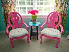 Pink chairs girls room