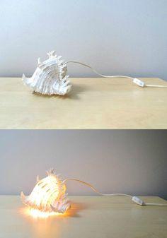 spider conch seashell lamp tropical decor white by ionesAttic