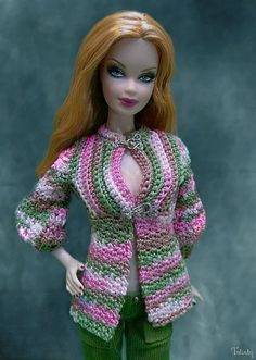 Top Model Summer Steffie Barbie by -Twisty-, via Flickr, Top by Cozy Couture, Cords my Hazel Street Dezigns