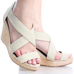 Beige Womens Open Toe Strappy Canvas Cute Basketweave Wedge Heel Shoes