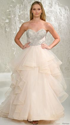 watters brides spring 2016 bridal strapless sweetheart neckline metallic embroidery bodice blush color horsehair trim ball gown wedding dress style meri oatmeal #ballgown #weddingballgown #blush