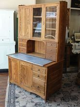 Antique 2 Piece Oak Kitchen Cabinet or Bakers Cupboard J 1 8 9 5