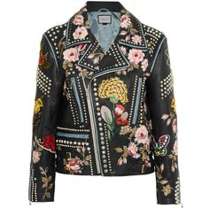 Gucci Embellished leather biker jacket, Women's, Size: 38 (41.990 RON) ❤ liked on Polyvore featuring outerwear, jackets, gucci, motorcycle jacket, leather jacket, studded biker jacket, slim motorcycle jacket and moto jacket