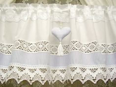 Country house curtain in white / flower lace / Swedish shabby chic / Window Valance / Cantonniere blanc / 339 Shabby Chic Style, Cocina Shabby Chic, Shabby Chic Mode, Estilo Shabby Chic, Lace Curtains, Country Style Curtains, Lace Window, Design Textile, Babies Rooms