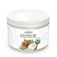 Anjou Coconut Oil Organic Extra Virgin Cold Pressed Unrefined for Hair Skin Cooking Health Beauty USDA Certified 11oz