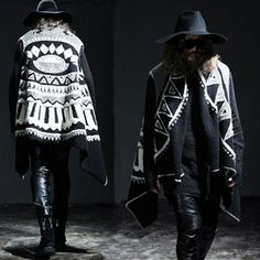 Men's Lambswool Poncho Long Loose Cape
