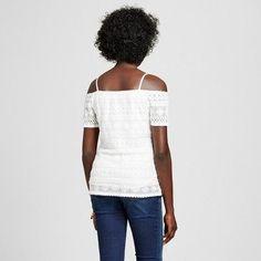 Maternity Short Sleeve Of The Shoulder Lace Top White L - Macherie, Women's