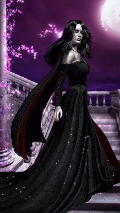Черная колдунья стоит в платье со шлейфом на ступенях ночью. - анимация на телефон №1181064