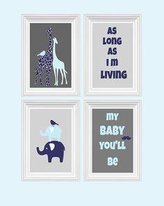 Giraffe Nursery Decor Elephant As long as i'm living quote Navy Blue Baby Blue Wall Art Home Decor Kids room 4 - 8x10 Prints Baby's room