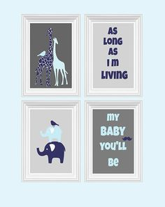 Giraffe Nursery Decor Elephant As long as i'm living quote Navy Blue Baby Blue Wall Art Home Decor Kids room 4 - 8x10 Prints Baby's room