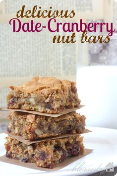 Date-Cranberry Nut Bars: Date Bar Recipe cup all-purpose flour teaspoon baking powder teaspoon salt 1 cup brown sugar 1 cup chopped dates cup dried cranberries cup chopped walnuts teaspoon vanilla 2 eggs Just Desserts, Delicious Desserts, Scones, Date Recipes, Recipes With Dates, Fig Recipes, Recipies, Cranberry Bars, Cookie Recipes