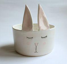 Charles the rabbit - sweet bowl with polka dot