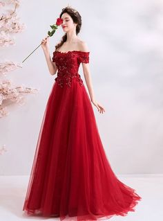 In Stock:Ship in 48 Hours A-Line Red Tulle Appliques Off the Shoulder Prom Dress Straps Prom Dresses, Backless Prom Dresses, Prom Dresses For Sale, Prom Dresses Online, Ball Dresses, Ball Gowns, Tulle Gown, Red Tulle Skirt, Red Wedding Dresses