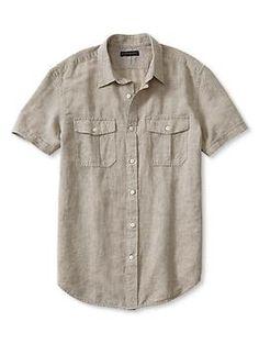 Slim-Fit Linen-Cotton Short-Sleeve Military Shirt | Banana Republic