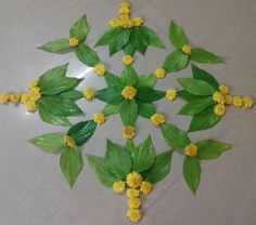 Best Ideas Simple Nature Crafts For Kids Leaves Rangoli Designs Flower, Colorful Rangoli Designs, Rangoli Ideas, Rangoli Designs Images, Rangoli Designs Diwali, Flower Rangoli, Flower Designs, Diwali Decorations At Home, Festival Decorations