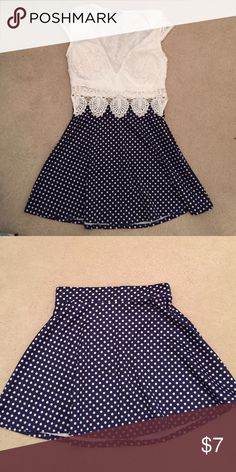 Blue Polka Dot Skirt Worn only a few times! Great condition. Charlotte Russe Skirts