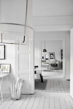 White painted wood floor