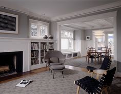 Benjamin Moore paints: The walls are Gray Horse, the ceiling is Decorator's White and the trim is White Dove. Sheri Olson - traditional - Living Room - Seattle - Sheri Olson Architecture PLLC
