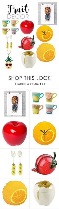 """Fruit decor"" by alyssaneitz ❤ liked on Polyvore featuring interior, interiors, interior design, home, home decor, interior decorating, La Pina, Bitossi, Viz Glass and Kate Spade"