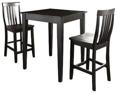 Crosley 3 Piece Pub Dining Set with Tapered Leg and School House Stools